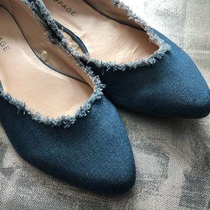 Rampage Shoes - NWOT - Rampage frayed blue denim Ciara flats 8.5